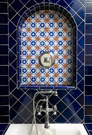 mexican tile bathroom designs detailed tile work cobalt blue tile mexican talavera tile