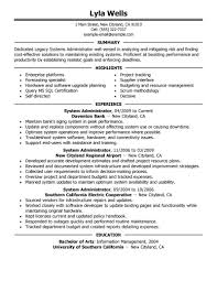 It Resume Examples Entry Level by Entry Level System Administrator Resume Sample Free Resume