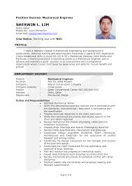 sample mechanical engineer resume amitdhull co