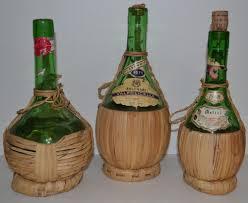 vintage bottle lot 3 italian wicker covered chianti imported wine