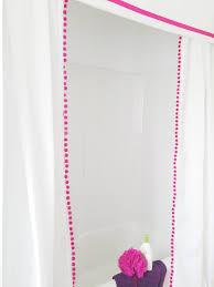 diy no sew pom pom shower curtain and valance