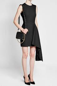 alexander mcqueen dress in wool and silk with draped accent color