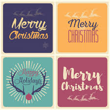 merry and happy holidays card set vector free