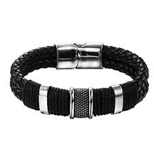 men black leather bracelet images Black nappa double woven leather men bracelet mark wahlberg forziani jpg