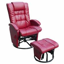Glider Recliner With Ottoman Dezmo Push Back Bonded Leather Recliner Glider Rocker With Swivel
