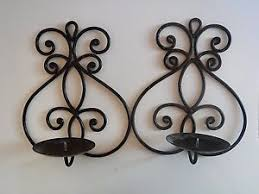 Iron Candle Wall Sconce Pair Of Black Cast Iron Candle Wall Sconces Ebay