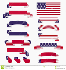 American Flag Design Red White Blue American Flag Ribbons And Banners Illustration