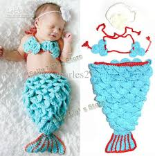 Infant Mermaid Halloween Costume Discount Newborn Baby Crochet Mermaid Tail Photography Props