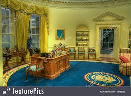 interior architecture clinton oval office replica stock picture