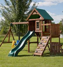 Swings For Backyard Knightsbridge Play Set Swings Slides Rock Wall Sandbox
