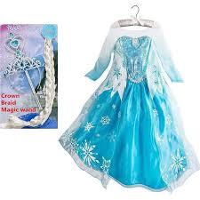 Princess Anna Halloween Costume Aliexpress Buy Elsa Dress Girls Halloween Costumes Kids