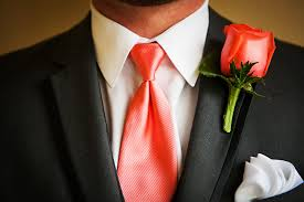 coral boutonniere coral and silver florida weddingtruly engaging wedding