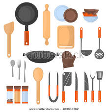 Kitchen Materials Kitchen Utensils Vector Stock Vector 167099399 Shutterstock
