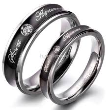 custom steel rings images Custom promise rings for men with concave black stainless steel png