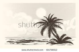 beach drawing palm trees mountains background stock vector