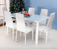 Leather Dining Chairs Design Ideas Dining Captivating White Dining Room Sets With Rectangle Glass