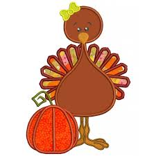 turkey standing next to pumpkin thanksgiving applique machine