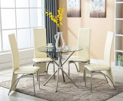 4family 5 pc round glass dining set table with 4 chairs kitchen