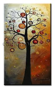 modern abstract canvas tree painting framed for sale