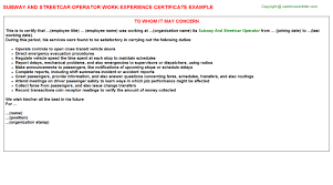 Subway Job Description For Resume by Subway Work Experience Letters