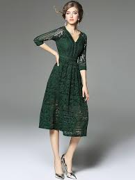 lace dress green v neckline hollow out lace dress metisu