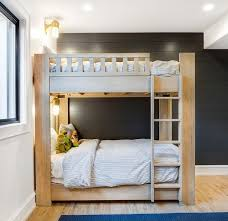Black Wooden Bunk Beds Rustic Wood Bunk Bed On Black Shiplap Wall Transitional Boy S Room