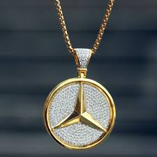 luxury necklace box images Sterling silver 14k gold finish luxury car logo round iced out jpg