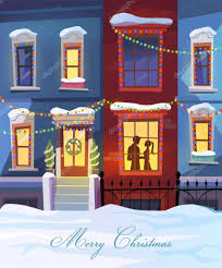 winter city with christmas decorated homes and couple in love