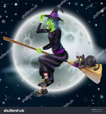 happy cartoon halloween witch flying on stock vector 155765075
