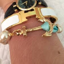 hermes bracelet white images Hermes jewelry authentic clic h bracelet in gold and white jpg