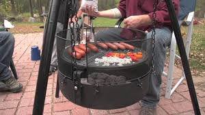 Cooking Over Fire Pit Grill - guide gear heavy duty campfire tripod system youtube