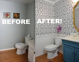 my colorful small gray bathroom makeover with stencils with regard