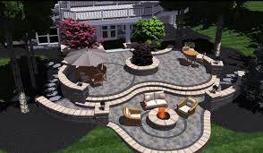 Patios Design Tiered 3d Brick Patio With Landscape Design In Bloomfield