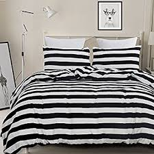 Duvet Cover Black Friday Sale Amazon Com Ntbay 3 Pieces Duvet Cover Set Black And White Stripe