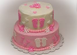 baby shower cake ideas round tiered pink white flower and
