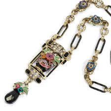 necklace vintage images Vintage enamel flower vase necklace art deco necklace sweet jpg
