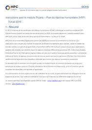 bureau de la coordination des affaires humanitaires pour le module projets plan de réponse humanitaire