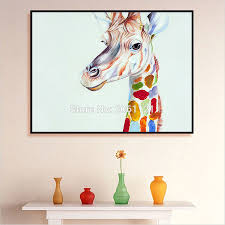 popular giraffe oil painting buy cheap giraffe oil painting lots order 1 set hand painted home decor wall art picture cute kid animal oil painting cartoon giraffe canvas