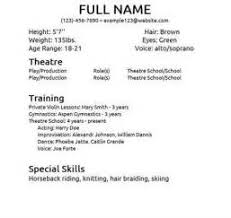 Resume For Theater Sample Resume For Theater Audition Example Good Resume Template