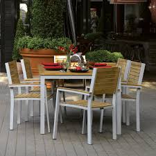 Modern Teak Outdoor Furniture by Oxford Garden Travira Teak Patio Dining Set Seats 6 Hayneedle
