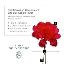 red carnation boutonniere life size lapel flower fort belvedere