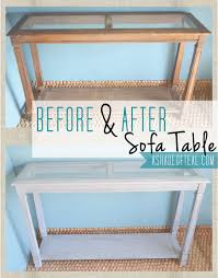 Turquoise Entry Table before after sofa table