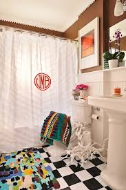 black and white ruffled shower curtain transitional bathroom