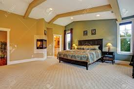 spacious master bedroom with high coffered ceiling beige carpet