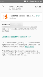 fandango adds android pay support all purchases are 3 off this