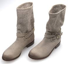 ladies biker boots twin set woman biker ankle boot taupe juta perforated suede code