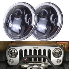 round led lights for jeep 7 inch round led headlights w drl half halo angel eyes turn signal