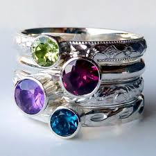 stackable birthstone rings 2 stacking rings stackable rings from gizmostreasures on etsy