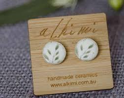 earrings for sensitive ears australia ceramic stud earrings with garden image nature boho leaf