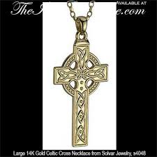 mens cross crucifix necklace images Men 39 s large gold celtic cross necklace engraved jpg